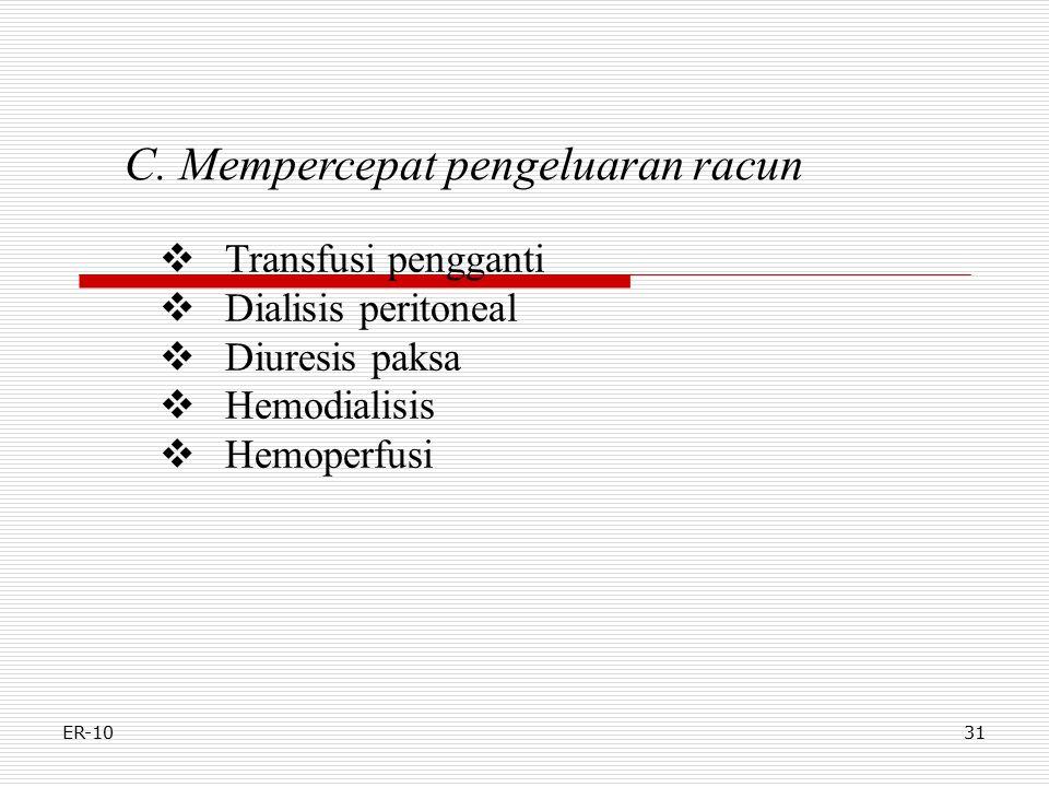 ER-1031 C. Mempercepat pengeluaran racun  Transfusi pengganti  Dialisis peritoneal  Diuresis paksa  Hemodialisis  Hemoperfusi