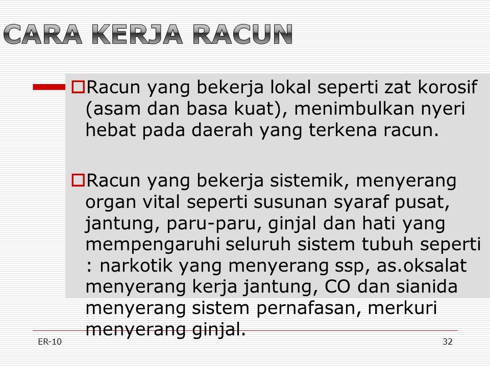 ER-1032 RRacun yang bekerja lokal seperti zat korosif (asam dan basa kuat), menimbulkan nyeri hebat pada daerah yang terkena racun.