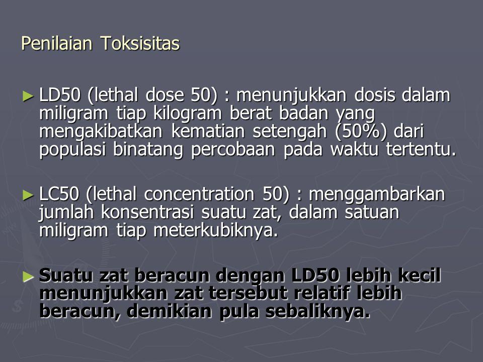 Penilaian Toksisitas ► LD50 (lethal dose 50) : menunjukkan dosis dalam miligram tiap kilogram berat badan yang mengakibatkan kematian setengah (50%) dari populasi binatang percobaan pada waktu tertentu.