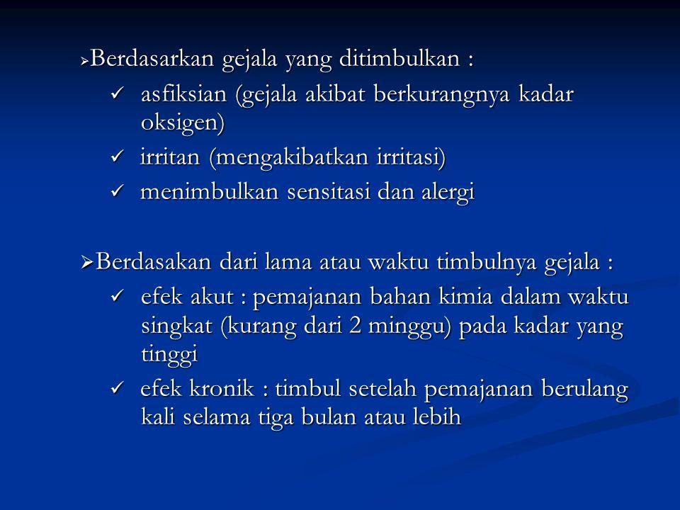  Berdasarkan gejala yang ditimbulkan : asfiksian (gejala akibat berkurangnya kadar oksigen) asfiksian (gejala akibat berkurangnya kadar oksigen) irri