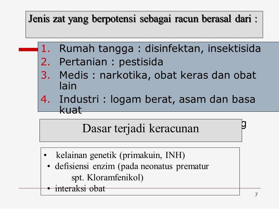 7 1.Rumah tangga : disinfektan, insektisida 2.Pertanian : pestisida 3.Medis : narkotika, obat keras dan obat lain 4.Industri : logam berat, asam dan basa kuat 5.Alam bebas : ganja, jamur, binatang berbisa Jenis zat yang berpotensi sebagai racun berasal dari : kelainan genetik (primakuin, INH) defisiensi enzim (pada neonatus prematur spt.