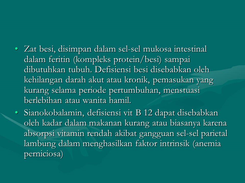 Zat besi, disimpan dalam sel-sel mukosa intestinal dalam feritin (kompleks protein/besi) sampai dibutuhkan tubuh. Defisiensi besi disebabkan oleh kehi