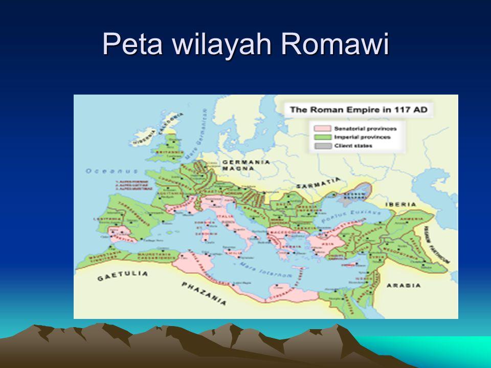 A. Runtuhnya Kekaisaran Romawi Kaisar pertama Romawi adalah Octavianus Agustus, kekuasaannya meliputi seluruh Eropa, Afrika Utara dan Afrika Barat. Pa