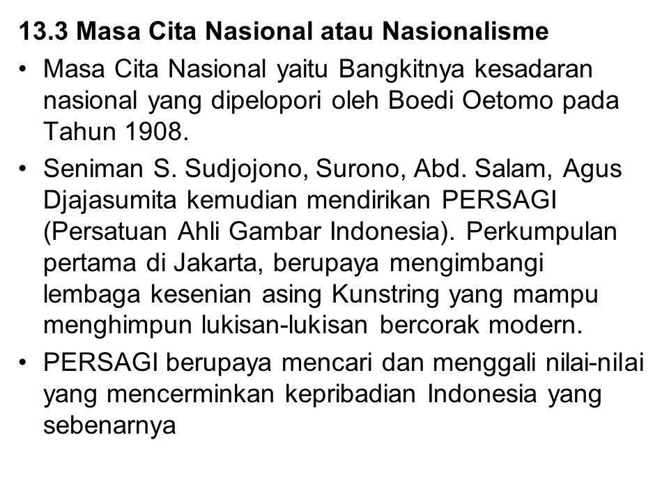 13.3 Masa Cita Nasional atau Nasionalisme Masa Cita Nasional yaitu Bangkitnya kesadaran nasional yang dipelopori oleh Boedi Oetomo pada Tahun 1908. Se