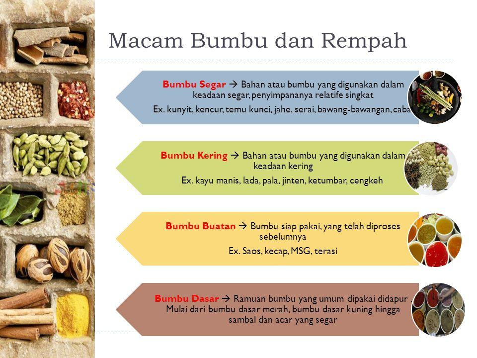Macam Bumbu dan Rempah Bumbu Segar  Bahan atau bumbu yang digunakan dalam keadaan segar, penyimpananya relatife singkat Ex.