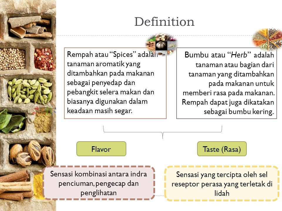 Definition Bumbu atau Herb adalah tanaman atau bagian dari tanaman yang ditambahkan pada makanan untuk memberi rasa pada makanan.