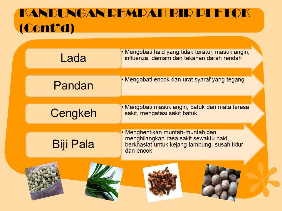 KANDUNGAN REMPAH BIR PLETOK Merangsang nafsu makan, memperlancar pencernaan, mengurangi asam perut Jahe Brazilin kayu secang mempunyai aktivitas sebag