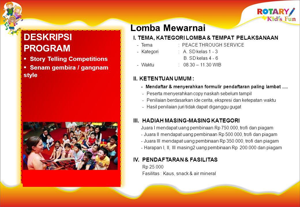 DESKRIPSI PROGRAM  Story Telling Competitions  Senam gembira / gangnam style Lomba Mewarnai I. TEMA, KATEGORI LOMBA & TEMPAT PELAKSANAAN - Tema : PE