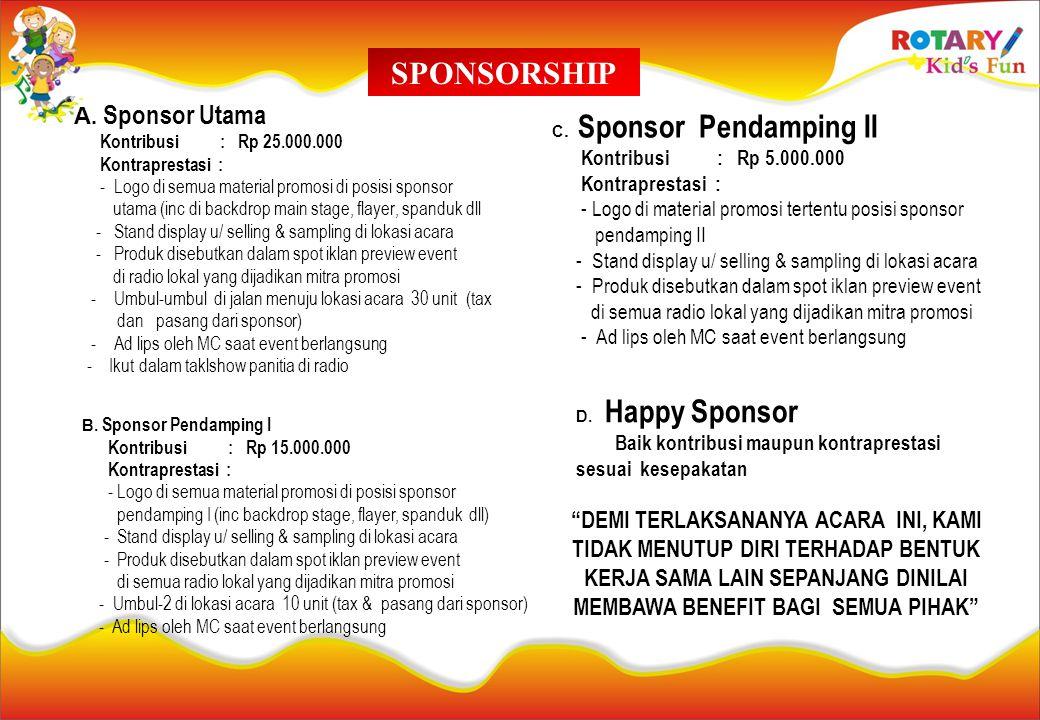 SPONSORSHIP A. Sponsor Utama Kontribusi : Rp 25.000.000 Kontraprestasi : - Logo di semua material promosi di posisi sponsor utama (inc di backdrop mai