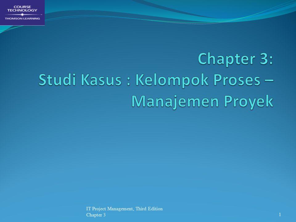 Kelompok Proses Manajemen Proyek Manajemen Proyek bisa dipandang sebagai kumpulan proses-proses yang saling terkait/berhubungan Kelompok Proses Manajemen Proyek mencakup: Proses Inisiasi (Initiating) Proses Perencanaan (Planning) Proses Pelaksanaan (Execution) Proses Pengendalian (Controlling) Proses Penutupan (Closing) IT Project Management, Third Edition Chapter 32