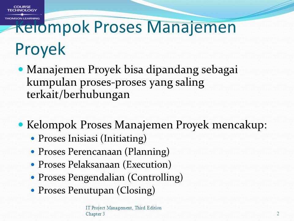 Kelompok Proses IT Project Management, Third Edition Chapter 33 PelaksanaanPerencanaanPengendalianPenutupanInisiasi