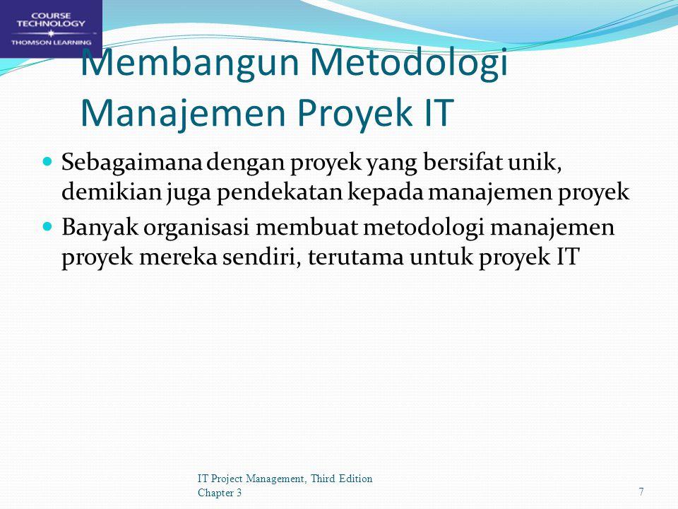 Mengakhiri/Menghentikan Proyek - Dengan Extinction (Selesai atau Gagal) - Dengan Penambahan (Penambahan Bagian dari suatu Organisasi) - Dengan Integrasi (Digabungkan dengan proyek yang lebih besar) - Dengan Starvation (Pemotongan pendanaan, alasan politik) IT Project Management, Third Edition Chapter 318
