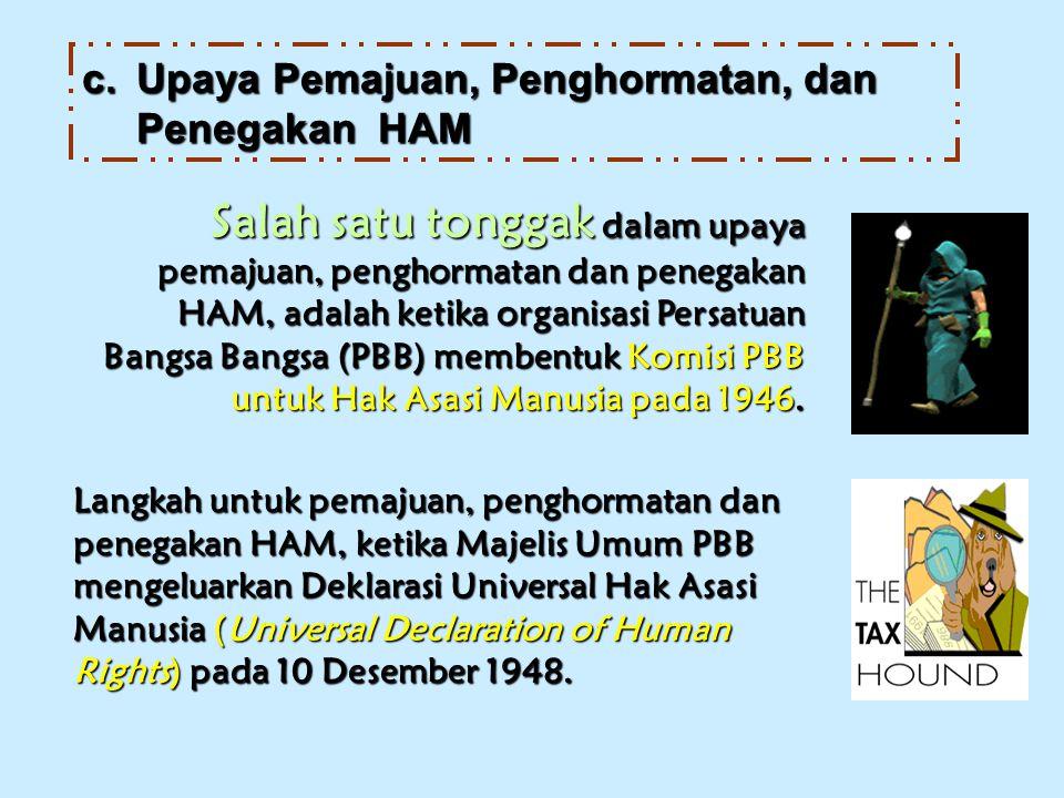 Salah satu tonggak dalam upaya pemajuan, penghormatan dan penegakan HAM, adalah ketika organisasi Persatuan Bangsa Bangsa (PBB) membentuk Komisi PBB untuk Hak Asasi Manusia pada 1946.