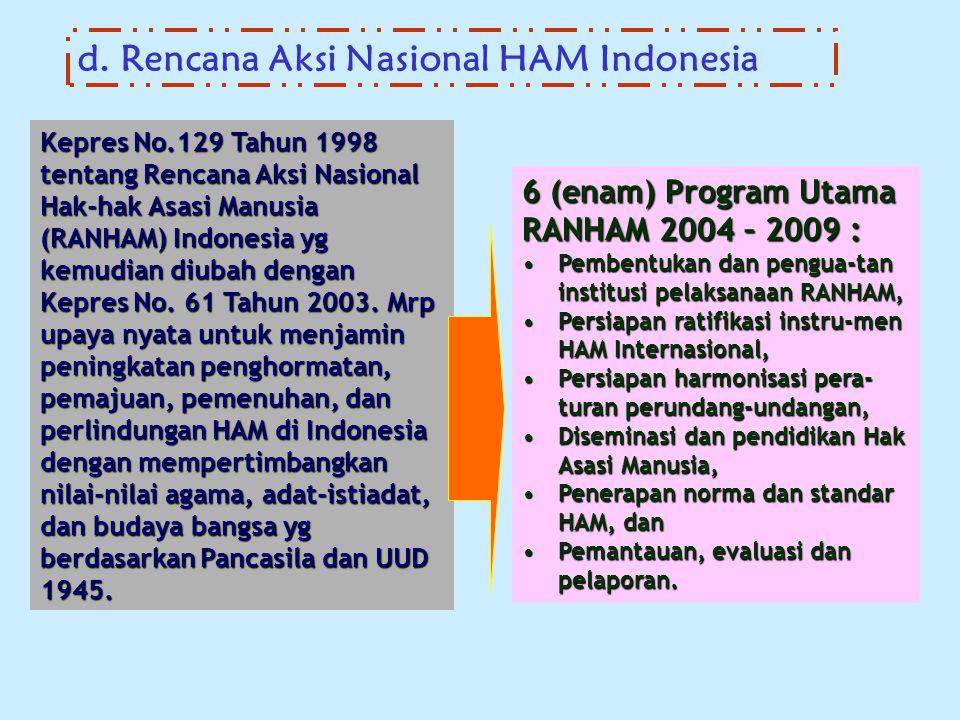 d. Rencana Aksi Nasional HAM Indonesia Kepres No.129 Tahun 1998 tentang Rencana Aksi Nasional Hak-hak Asasi Manusia (RANHAM) Indonesia yg kemudian diu