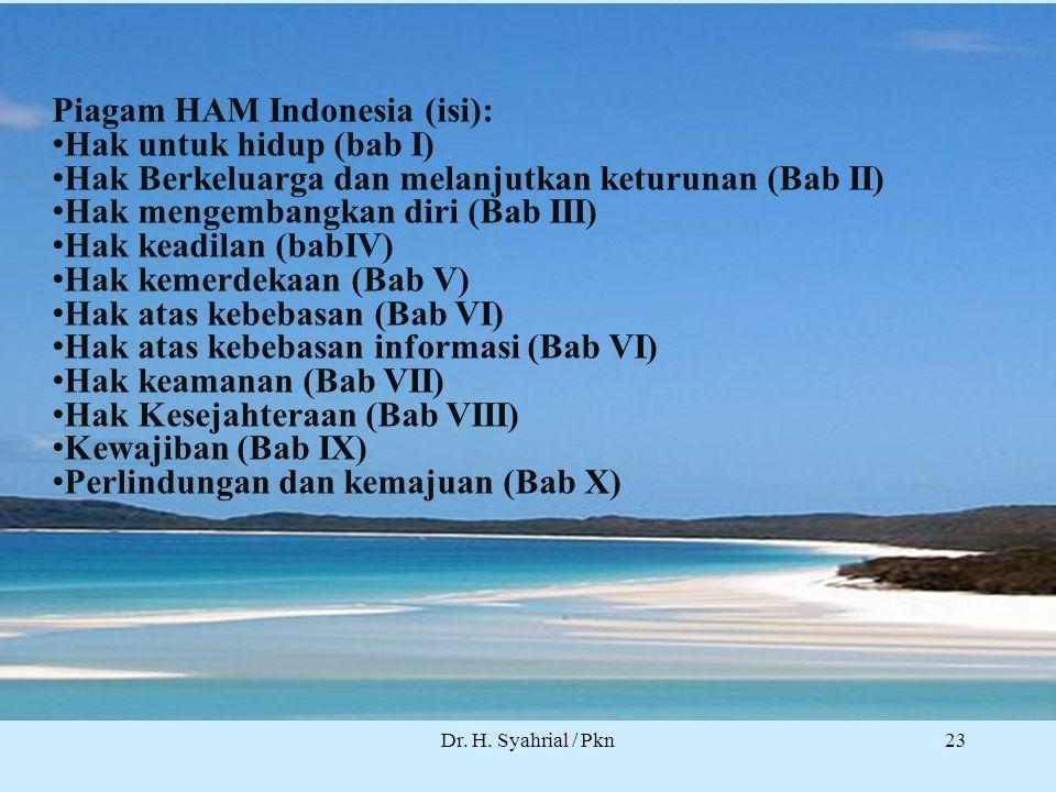 Dr. H. Syahrial / Pkn Piagam HAM Indonesia (isi): Hak untuk hidup (bab I) Hak Berkeluarga dan melanjutkan keturunan (Bab II) Hak mengembangkan diri (B