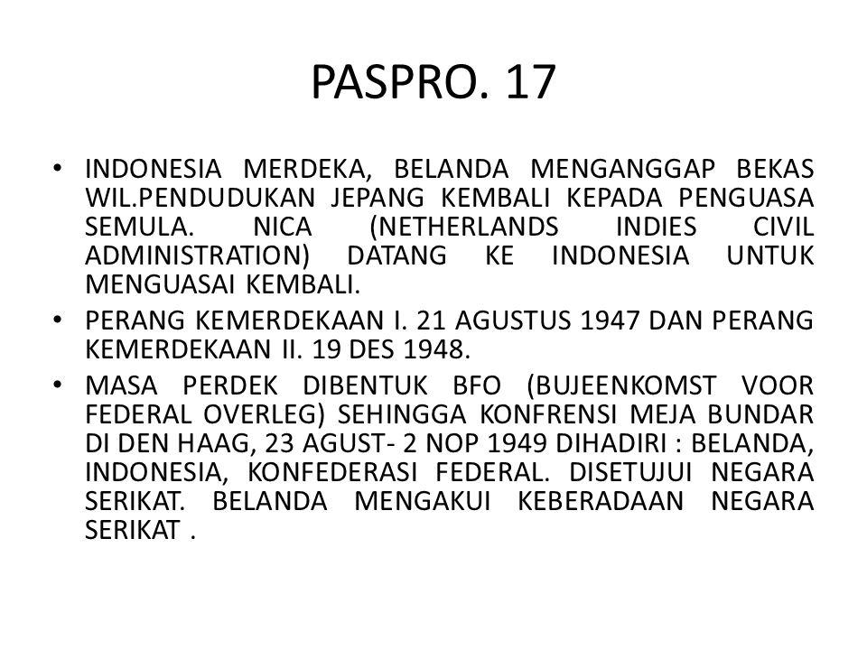 PASPRO. 17 INDONESIA MERDEKA, BELANDA MENGANGGAP BEKAS WIL.PENDUDUKAN JEPANG KEMBALI KEPADA PENGUASA SEMULA. NICA (NETHERLANDS INDIES CIVIL ADMINISTRA