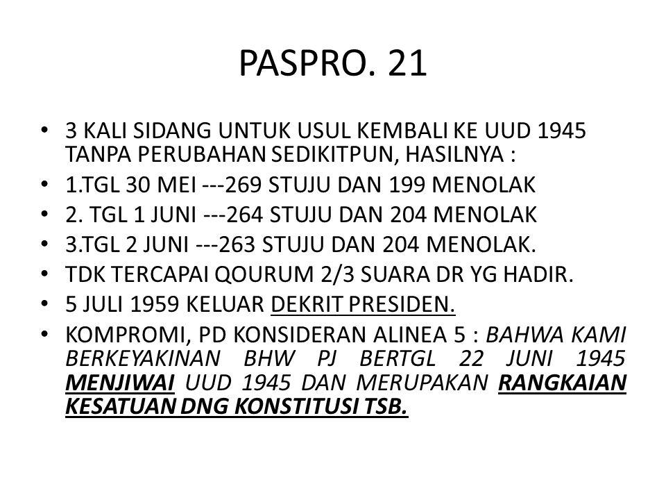 PASPRO. 21 3 KALI SIDANG UNTUK USUL KEMBALI KE UUD 1945 TANPA PERUBAHAN SEDIKITPUN, HASILNYA : 1.TGL 30 MEI ---269 STUJU DAN 199 MENOLAK 2. TGL 1 JUNI