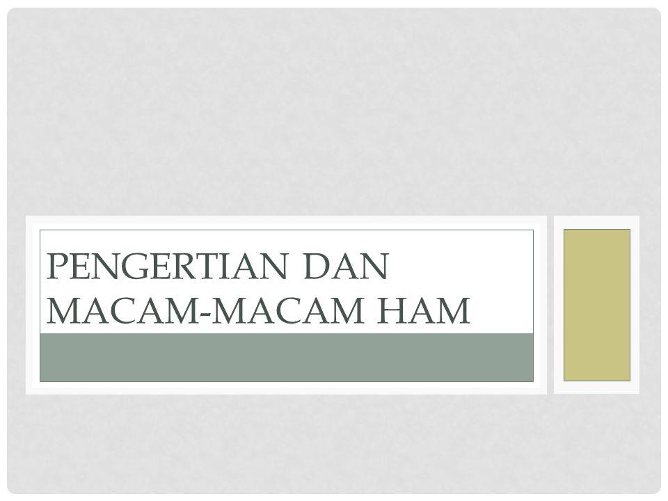 PENGERTIAN DAN MACAM-MACAM HAM