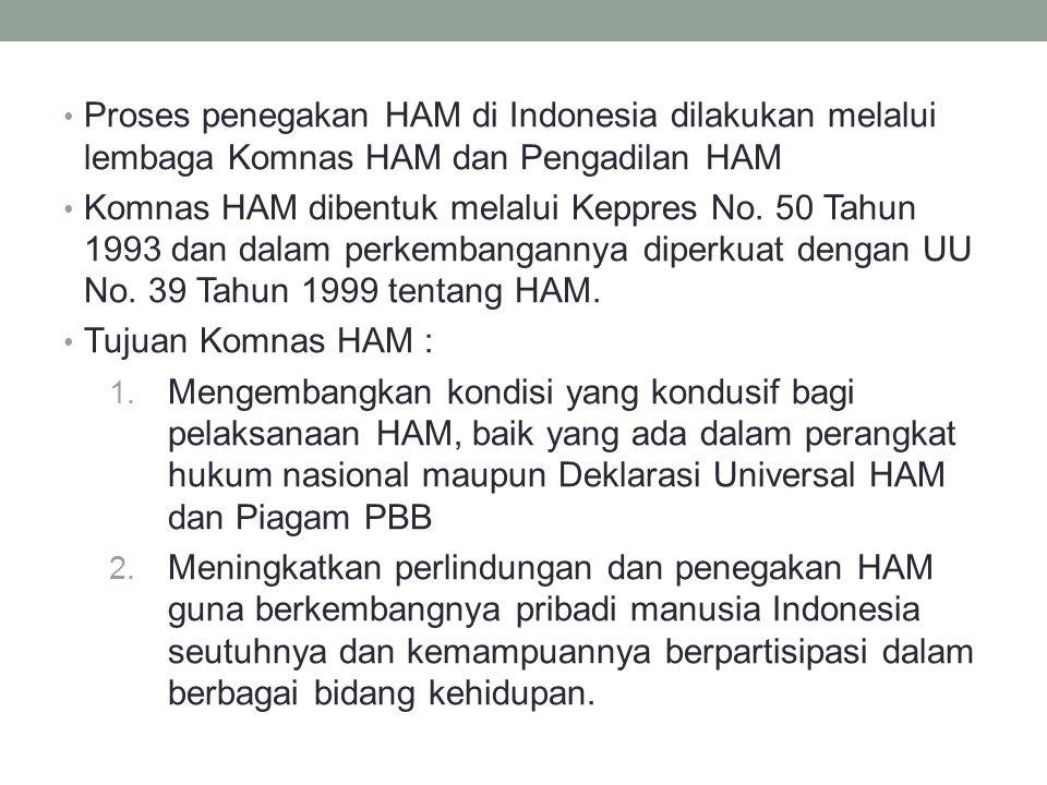 Proses penegakan HAM di Indonesia dilakukan melalui lembaga Komnas HAM dan Pengadilan HAM Komnas HAM dibentuk melalui Keppres No.