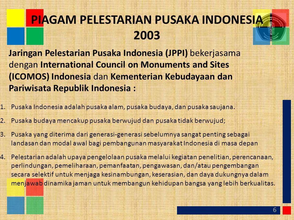 PIAGAM PELESTARIAN PUSAKA INDONESIA 2003 6 Jaringan Pelestarian Pusaka Indonesia (JPPI) bekerjasama dengan International Council on Monuments and Site