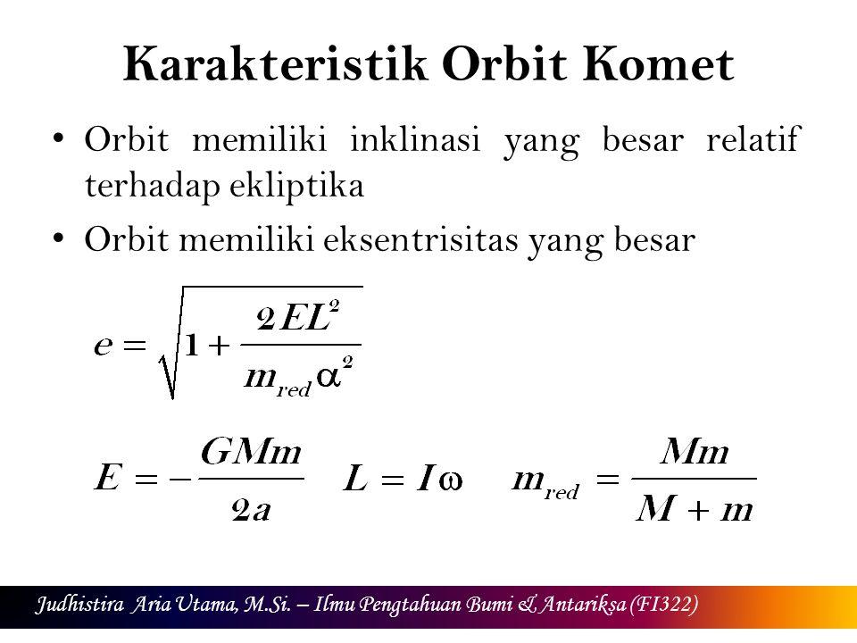 Karakteristik Orbit Komet Orbit memiliki inklinasi yang besar relatif terhadap ekliptika Orbit memiliki eksentrisitas yang besar Judhistira Aria Utama, M.Si.