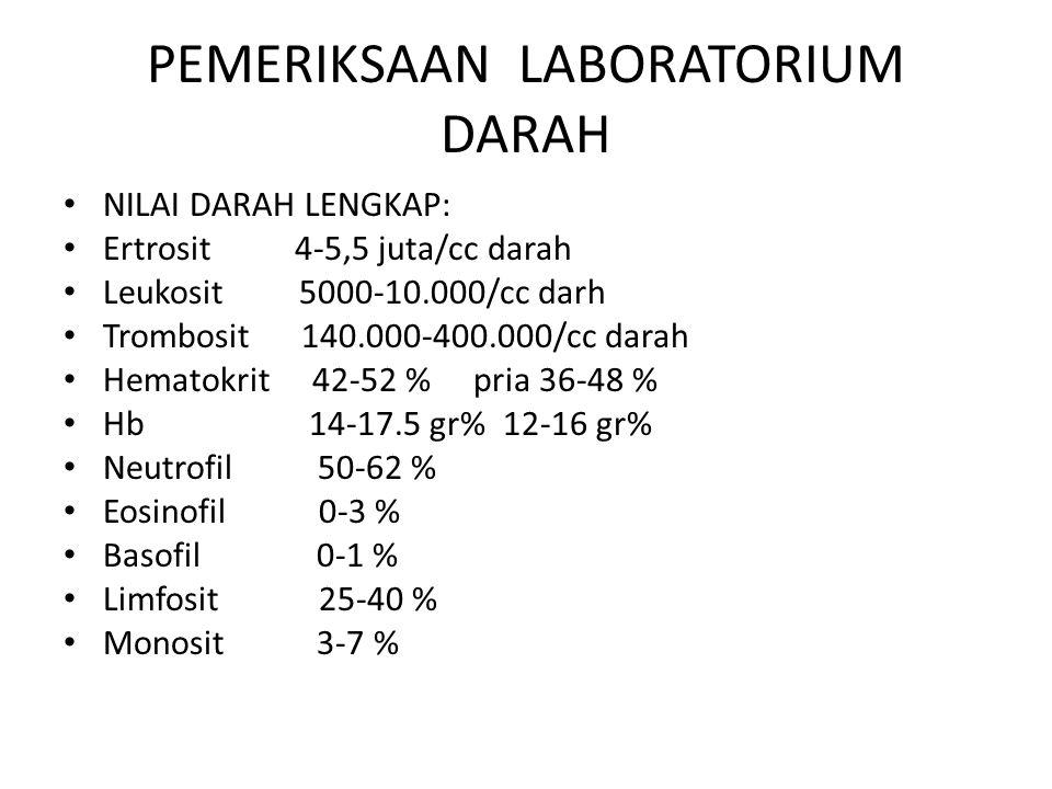 PEMERIKSAAN LABORATORIUM DARAH NILAI DARAH LENGKAP: Ertrosit 4-5,5 juta/cc darah Leukosit 5000-10.000/cc darh Trombosit 140.000-400.000/cc darah Hemat
