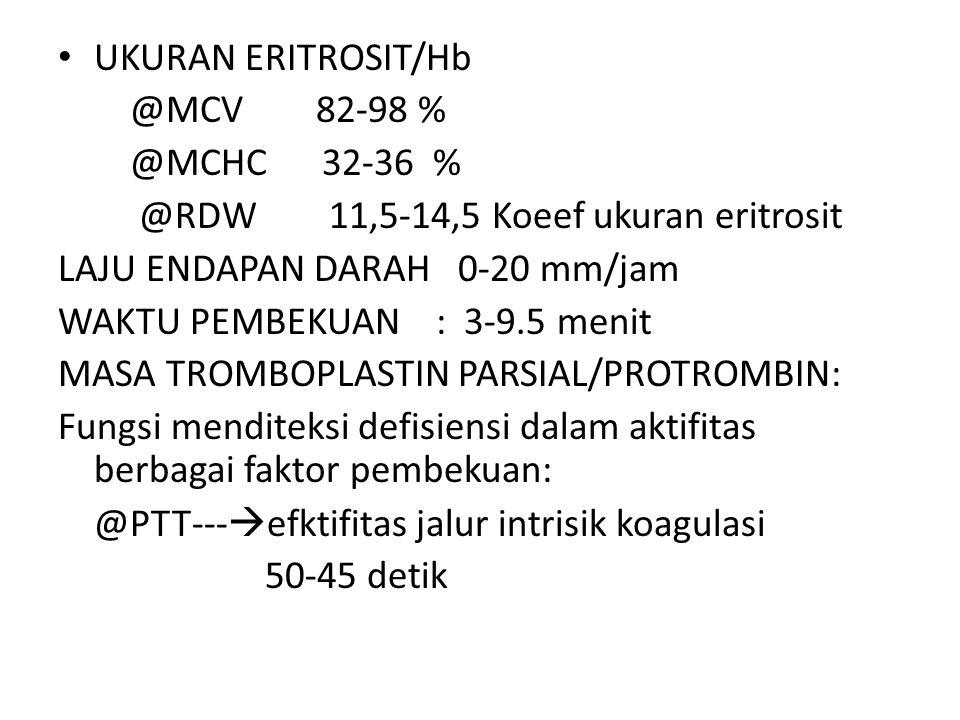 UKURAN ERITROSIT/Hb @MCV 82-98 % @MCHC 32-36 % @RDW 11,5-14,5 Koeef ukuran eritrosit LAJU ENDAPAN DARAH 0-20 mm/jam WAKTU PEMBEKUAN : 3-9.5 menit MASA