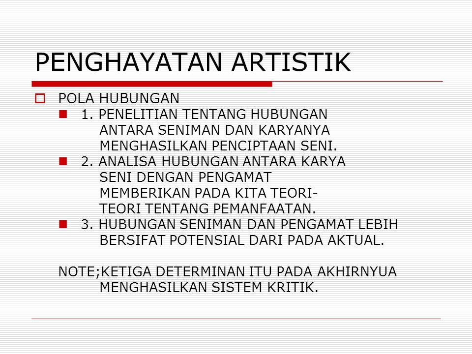 PENGHAYATAN ARTISTIK  POLA HUBUNGAN 1.