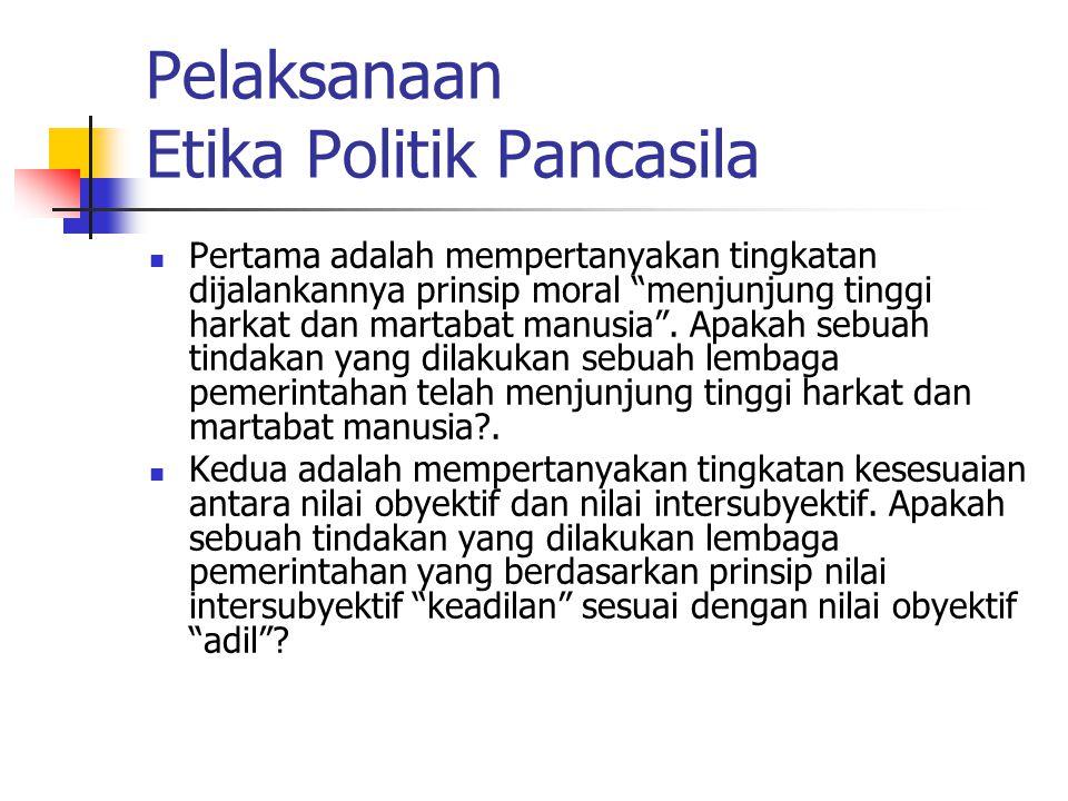 Pelaksanaan Etika Politik Pancasila Pertama adalah mempertanyakan tingkatan dijalankannya prinsip moral menjunjung tinggi harkat dan martabat manusia .