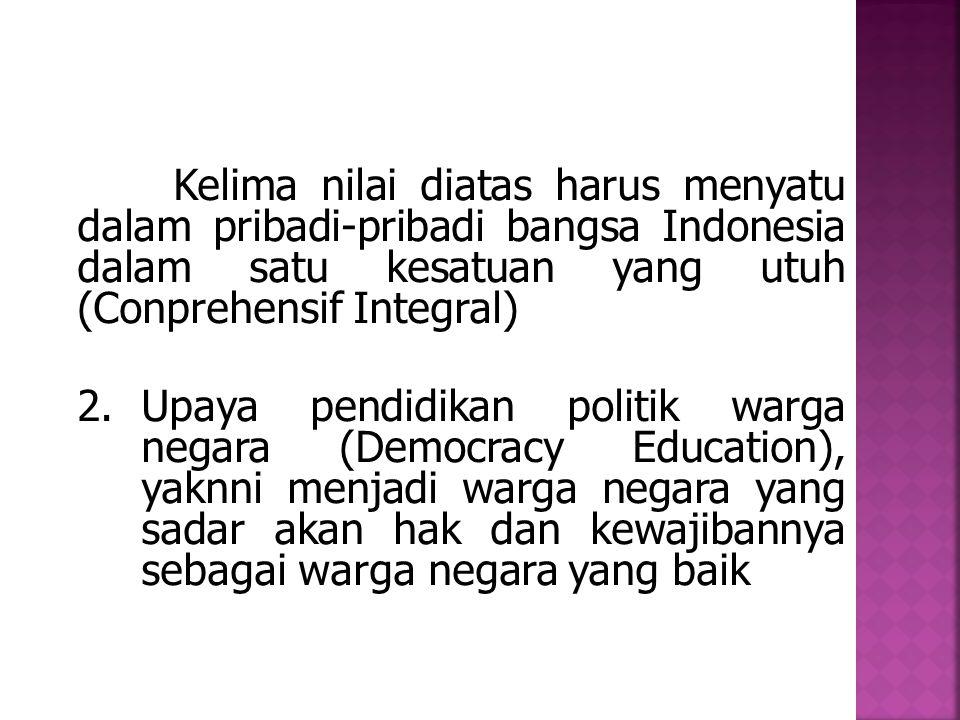 Kelima nilai diatas harus menyatu dalam pribadi-pribadi bangsa Indonesia dalam satu kesatuan yang utuh (Conprehensif Integral) 2.