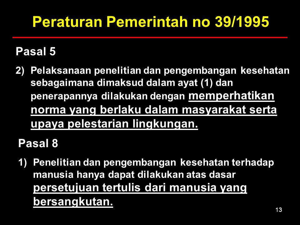 13 Pasal 5 2)Pelaksanaan penelitian dan pengembangan kesehatan sebagaimana dimaksud dalam ayat (1) dan penerapannya dilakukan dengan memperhatikan norma yang berlaku dalam masyarakat serta upaya pelestarian lingkungan.