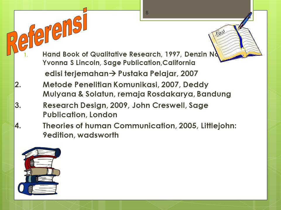 1. Hand Book of Qualitative Research, 1997, Denzin Norman, Yvonna S Lincoln, Sage Publication,California edisi terjemahan  Pustaka Pelajar, 2007 2.Me