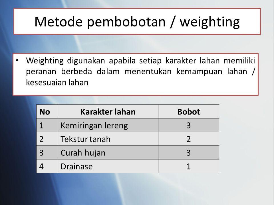 Weighting digunakan apabila setiap karakter lahan memiliki peranan berbeda dalam menentukan kemampuan lahan / kesesuaian lahan Metode pembobotan / weighting NoKarakter lahanBobot 1Kemiringan lereng3 2Tekstur tanah2 3Curah hujan3 4Drainase1