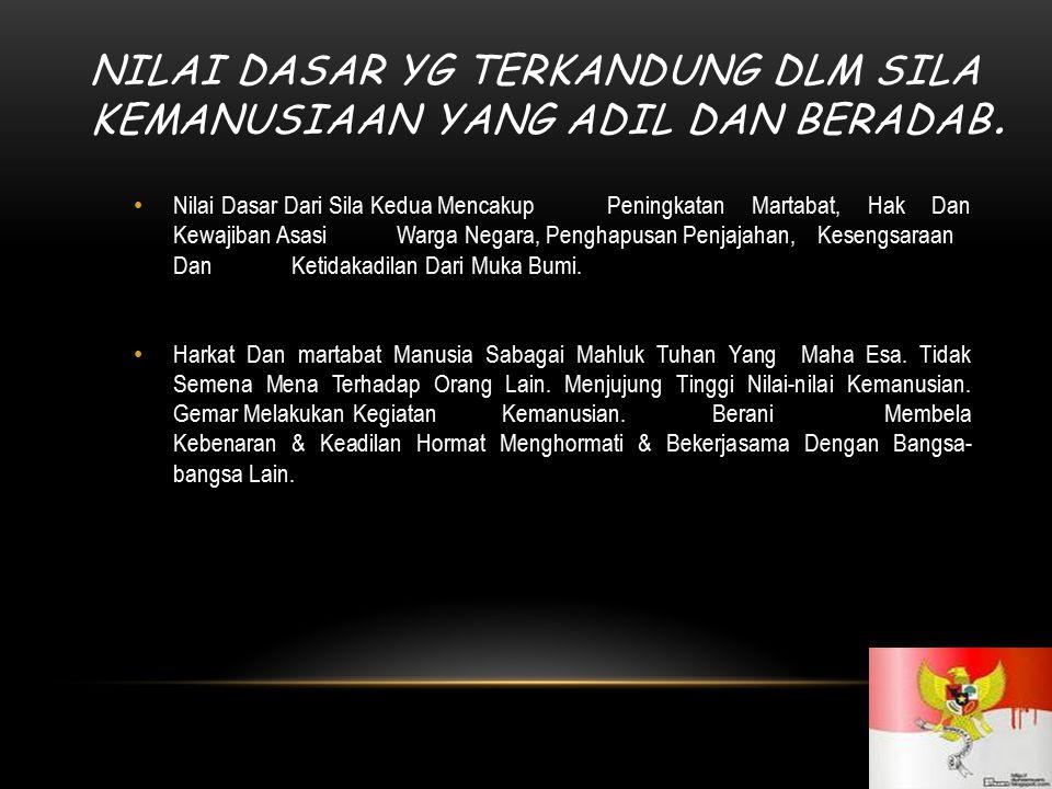 NILAI DASAR YG TERKANDUNG DALAM SILA PERSATUAN INDONESIA 7 Nilai Dasar Dari Sila Ketiga Mencakup Peningkatan Pembinaan Bangsa Disemua Bidang Kehidupan Manusia, Masyarakat, Bangsa Dan Negara Sehingga Rasa Kesetiakawanan Makin Kuat Dalam Rangka Memperkukuh Persatuan & Kesatuang Bangsa.