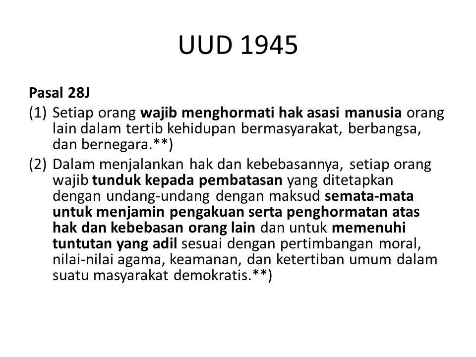 UUD 1945 Pasal 28J (1) Setiap orang wajib menghormati hak asasi manusia orang lain dalam tertib kehidupan bermasyarakat, berbangsa, dan bernegara.**)