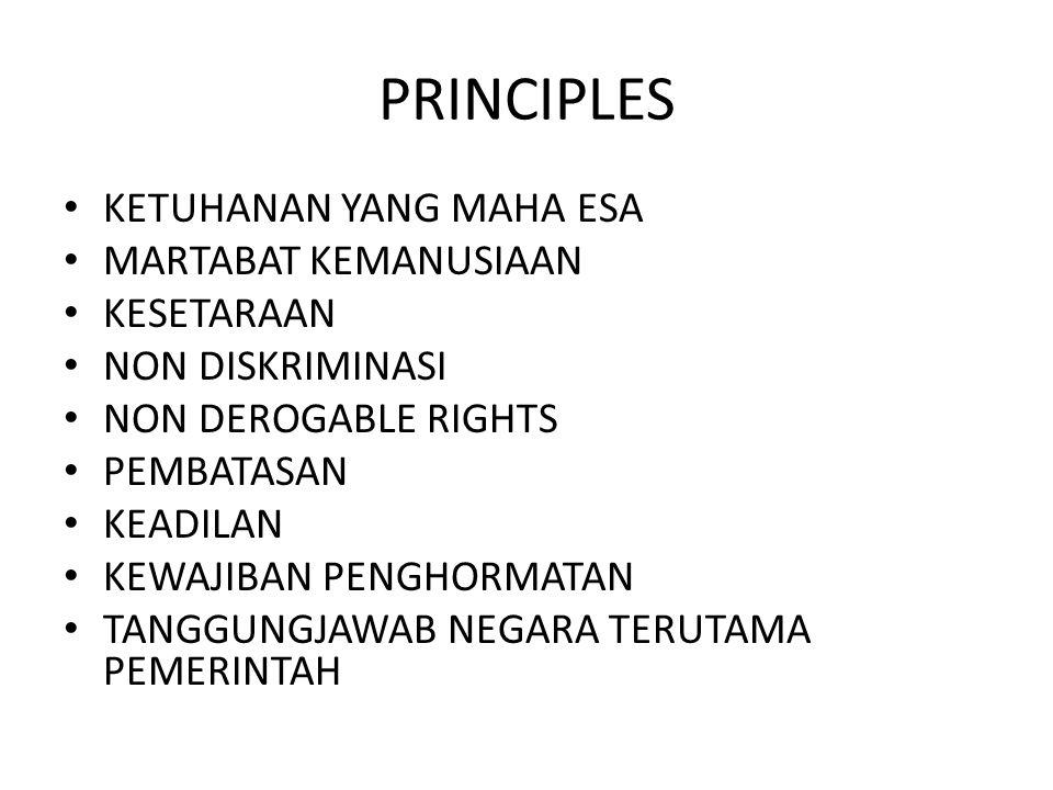 PRINCIPLES KETUHANAN YANG MAHA ESA MARTABAT KEMANUSIAAN KESETARAAN NON DISKRIMINASI NON DEROGABLE RIGHTS PEMBATASAN KEADILAN KEWAJIBAN PENGHORMATAN TA