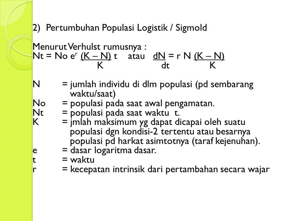 2) Pertumbuhan Populasi Logistik / Sigmold Menurut Verhulst rumusnya : Nt = No e r (K – N) t atau dN = r N (K – N) K dtK N = jumlah individu di dlm populasi (pd sembarang waktu/saat) No= populasi pada saat awal pengamatan.
