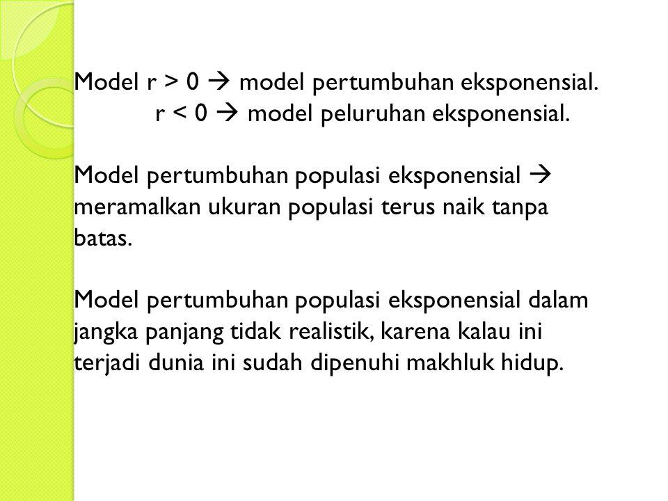 Model r > 0  model pertumbuhan eksponensial.r < 0  model peluruhan eksponensial.