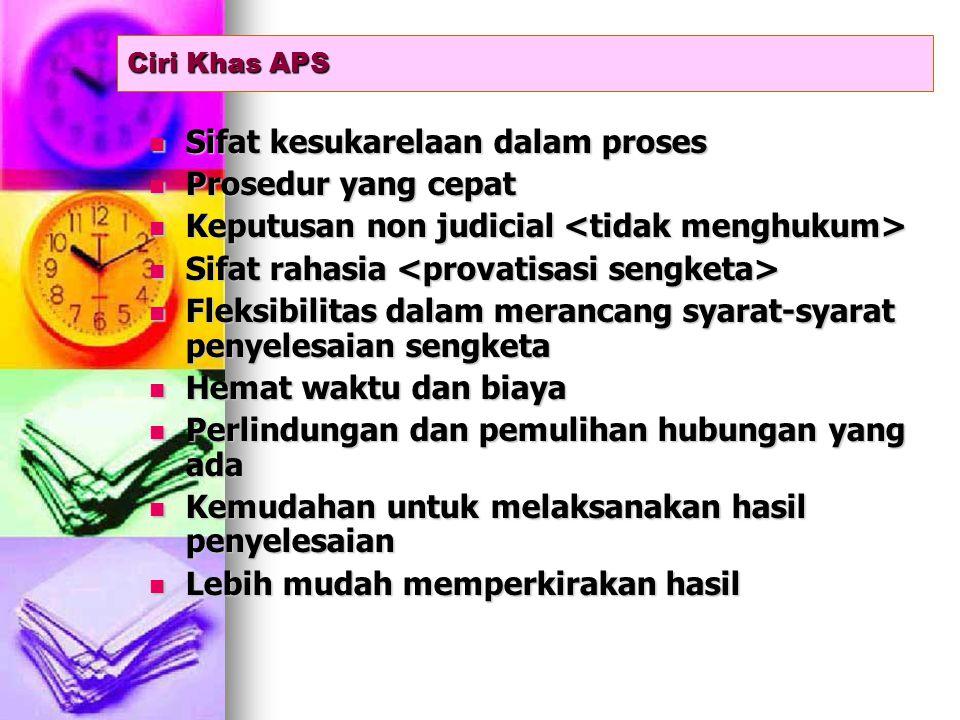 Ciri Khas APS Sifat kesukarelaan dalam proses Sifat kesukarelaan dalam proses Prosedur yang cepat Prosedur yang cepat Keputusan non judicial Keputusan