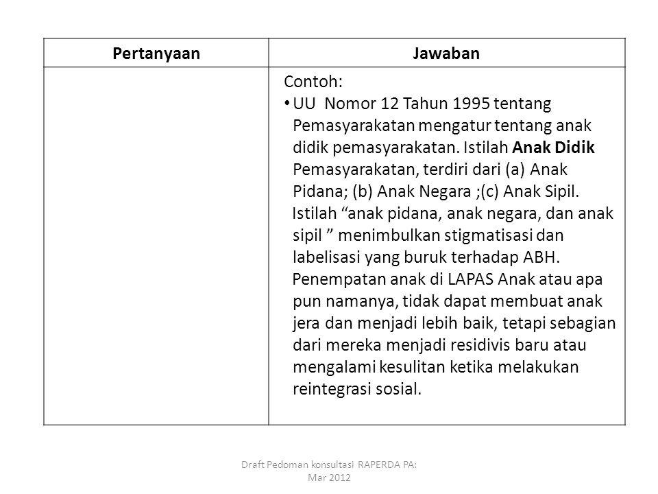 PertanyaanJawaban Contoh: UU Nomor 12 Tahun 1995 tentang Pemasyarakatan mengatur tentang anak didik pemasyarakatan. Istilah Anak Didik Pemasyarakatan,