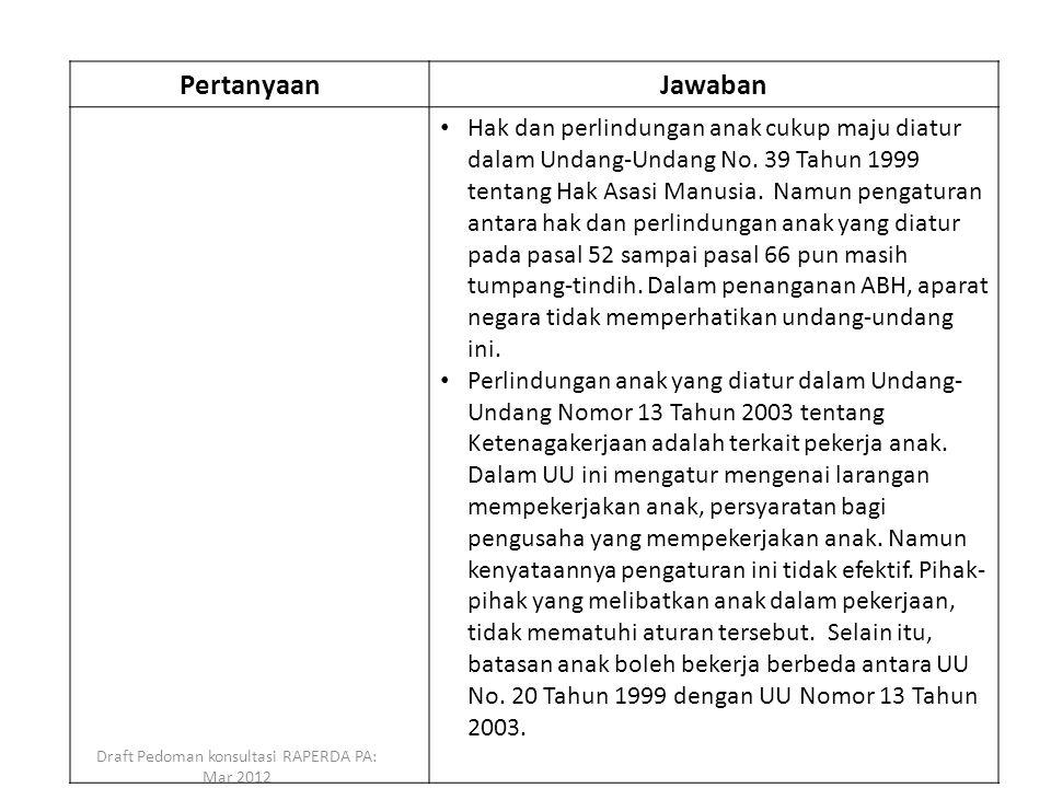 PertanyaanJawaban Hak dan perlindungan anak cukup maju diatur dalam Undang-Undang No. 39 Tahun 1999 tentang Hak Asasi Manusia. Namun pengaturan antara