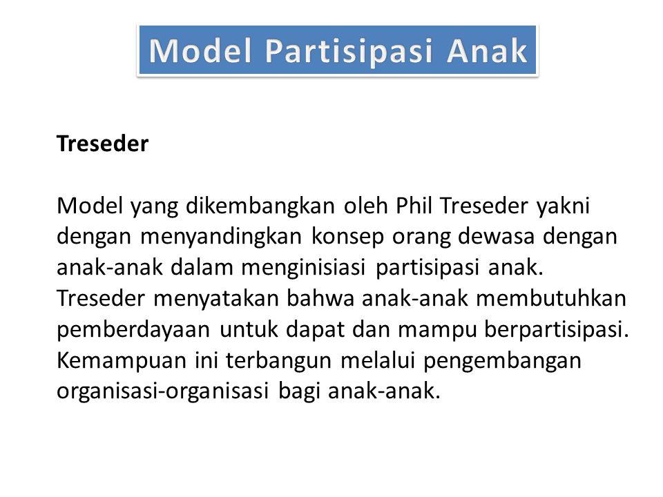 Treseder Model yang dikembangkan oleh Phil Treseder yakni dengan menyandingkan konsep orang dewasa dengan anak-anak dalam menginisiasi partisipasi anak.