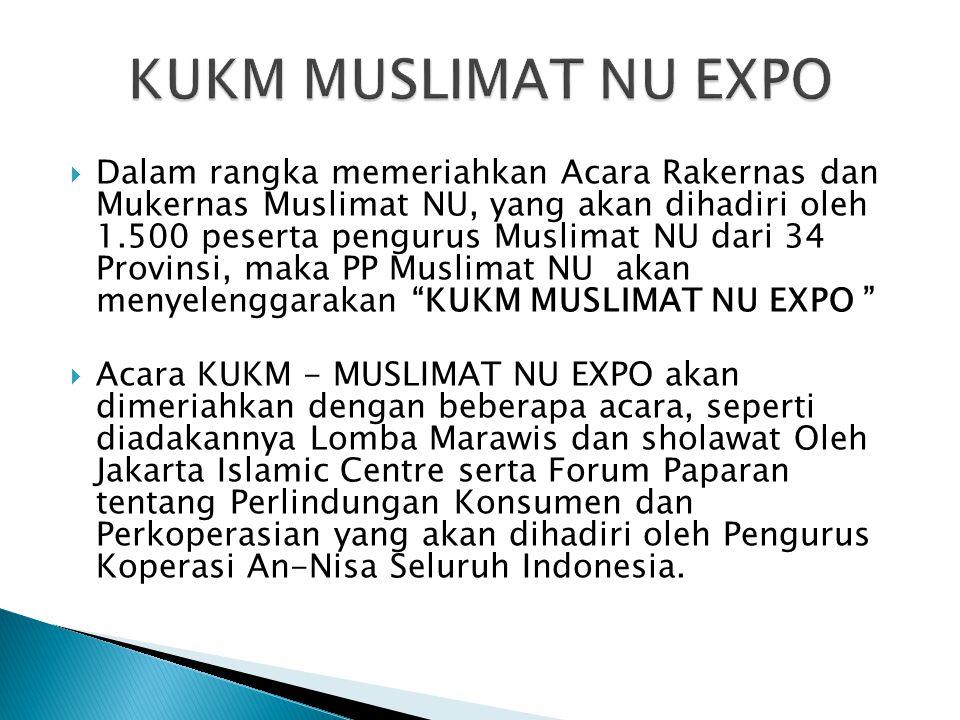  Dalam rangka memeriahkan Acara Rakernas dan Mukernas Muslimat NU, yang akan dihadiri oleh 1.500 peserta pengurus Muslimat NU dari 34 Provinsi, maka