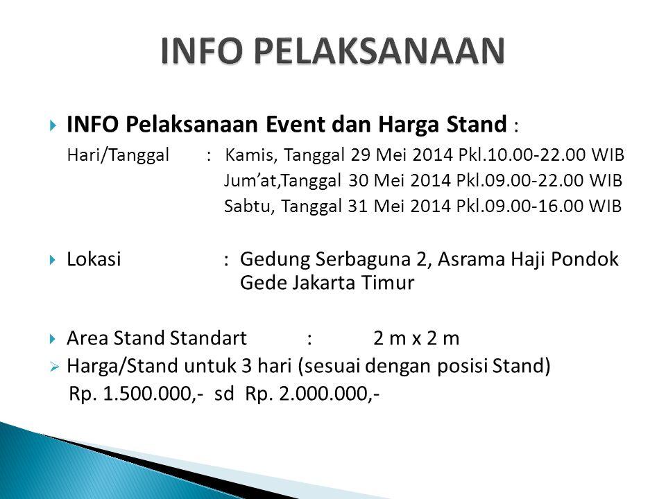  INFO Pelaksanaan Event dan Harga Stand : Hari/Tanggal : Kamis, Tanggal 29 Mei 2014 Pkl.10.00-22.00 WIB Jum'at,Tanggal 30 Mei 2014 Pkl.09.00-22.00 WI