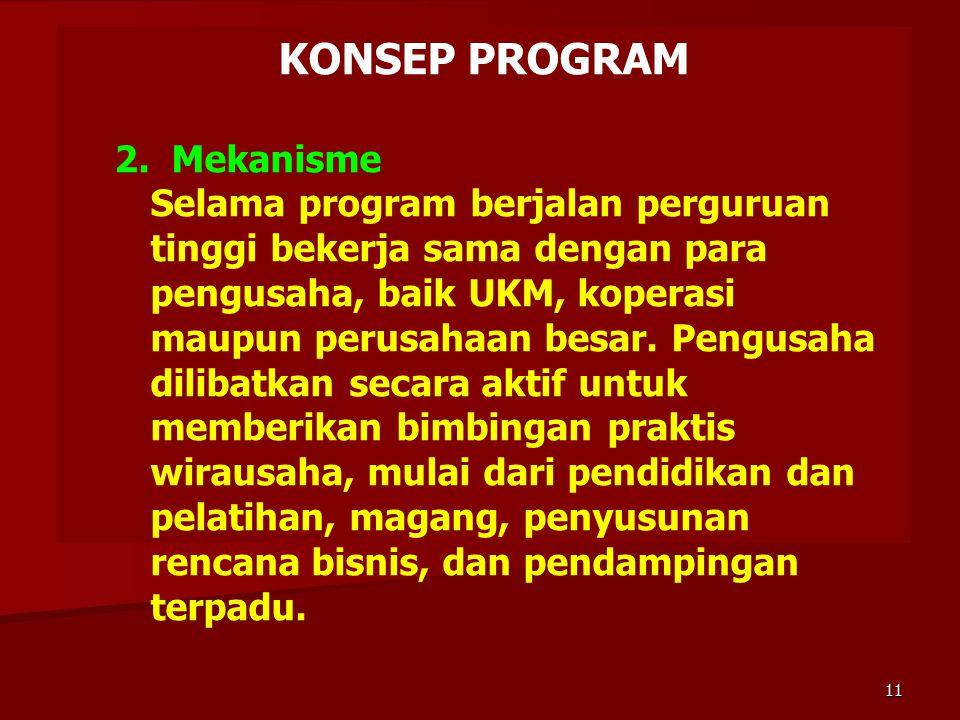 KONSEP PROGRAM 2. Mekanisme Selama program berjalan perguruan tinggi bekerja sama dengan para pengusaha, baik UKM, koperasi maupun perusahaan besar. P