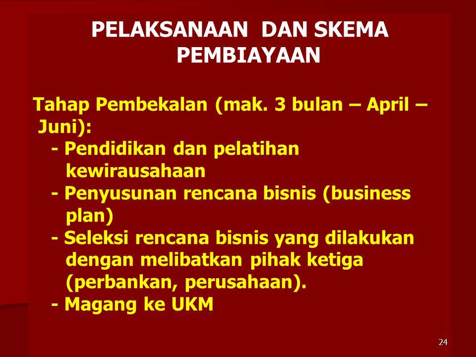 PELAKSANAAN DAN SKEMA PEMBIAYAAN Tahap Pembekalan (mak. 3 bulan – April – Juni): - Pendidikan dan pelatihan kewirausahaan - Penyusunan rencana bisnis