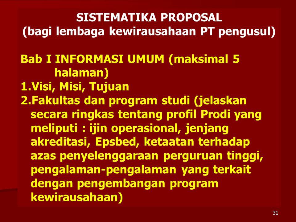 SISTEMATIKA PROPOSAL (bagi lembaga kewirausahaan PT pengusul) Bab I INFORMASI UMUM (maksimal 5 halaman) 1.Visi, Misi, Tujuan 2.Fakultas dan program st