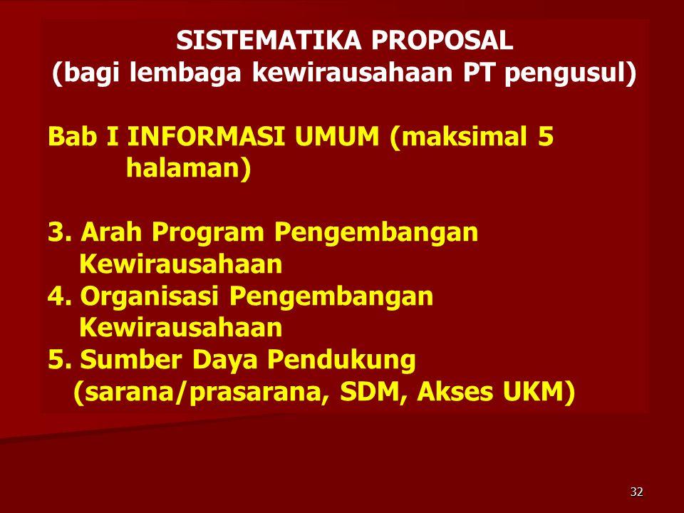 SISTEMATIKA PROPOSAL (bagi lembaga kewirausahaan PT pengusul) Bab I INFORMASI UMUM (maksimal 5 halaman) 3. Arah Program Pengembangan Kewirausahaan 4.