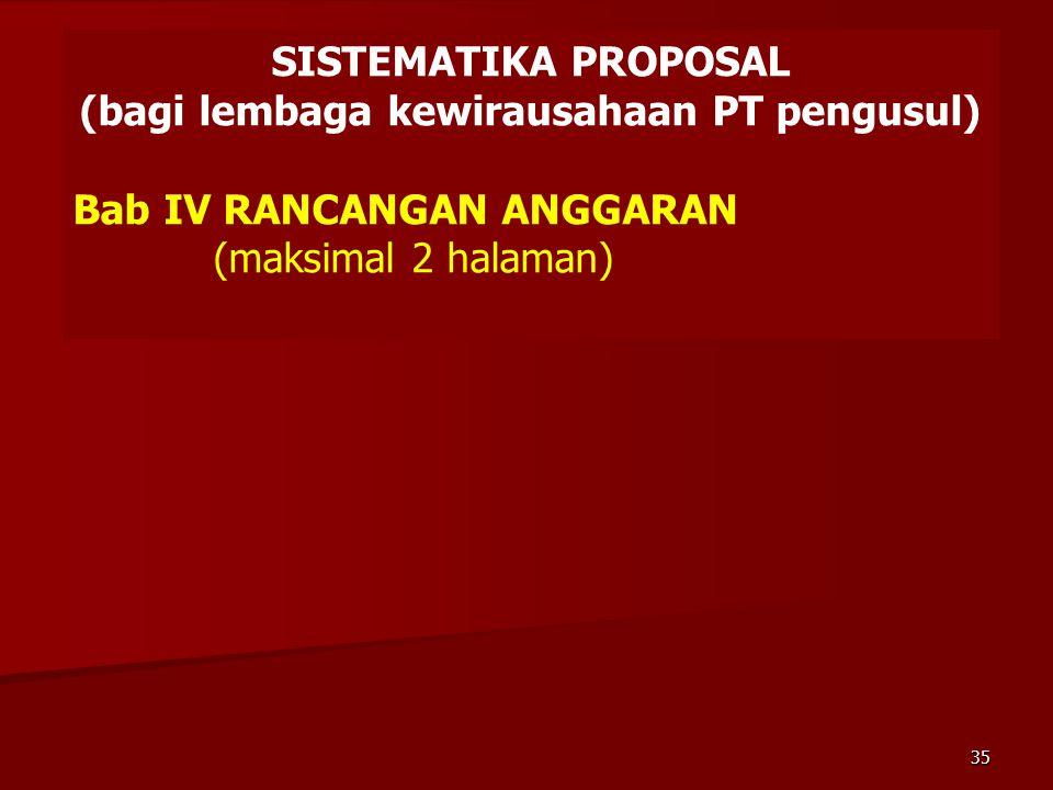SISTEMATIKA PROPOSAL (bagi lembaga kewirausahaan PT pengusul) Bab IV RANCANGAN ANGGARAN (maksimal 2 halaman) 35