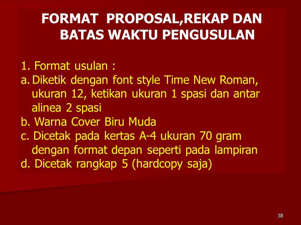 FORMAT PROPOSAL,REKAP DAN BATAS WAKTU PENGUSULAN 1. Format usulan : a.Diketik dengan font style Time New Roman, ukuran 12, ketikan ukuran 1 spasi dan